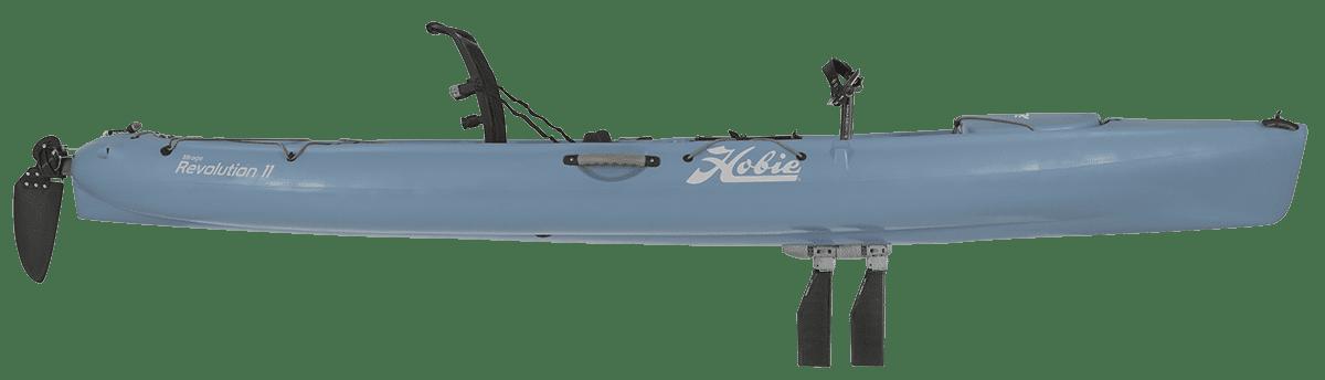 Hobie Revolution 11 Kayak side view slate blue with kick up